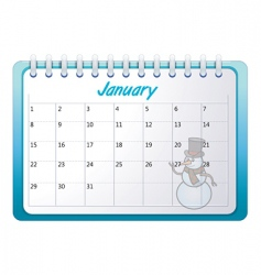 cartoon January calendar vector image
