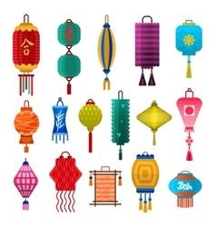 Chinese lanterns light flat style vector image