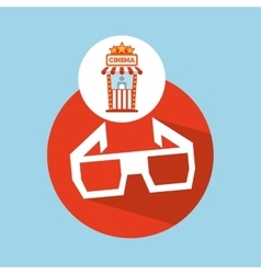 Cinema movie ticket office glasses 3d graphic vector