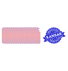 Composition of gradiented dotted map of kansas vector