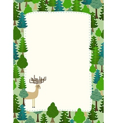 conifers pattern Background of trees and deer vector image