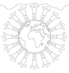 Continuous line multinational society concept vector