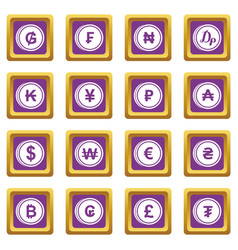 currency from different countries icons set purple vector image