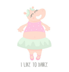 cute baby hippo ballerina dancing cartoon hand vector image