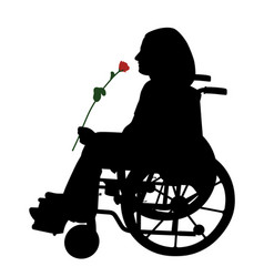 Disabled person in wheelchair with red rose vector