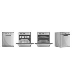 Dishwasher icon set cartoon style vector