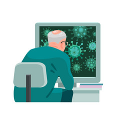 doctor looking at computer screen with microscope vector image