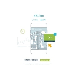 Fitness app concept on touchscreen vector