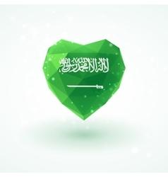 Flag of Saudi Arabia in shape diamond glass heart vector