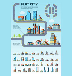 flat city infographic cityscape municipal vector image