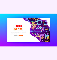 food order neon landing page vector image