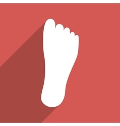Foot Sole Flat Long Shadow Square Icon vector image