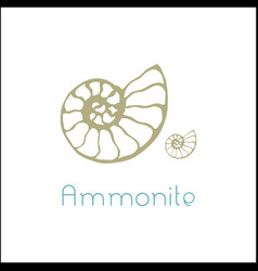 Fossil ammonite nautilus seashell logo vector