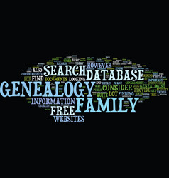 Free genealogy database text background word vector