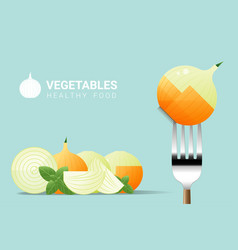 Fresh onion on fork with pile of onions vector