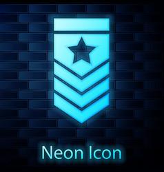Glowing neon chevron icon isolated on brick wall vector