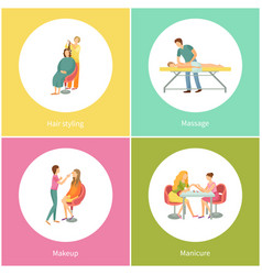 Hair styling and massage masseur in uniform vector