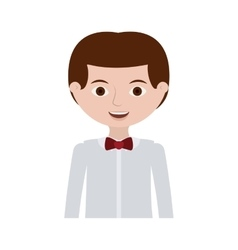 Half body man with formal shirt and bowtie vector