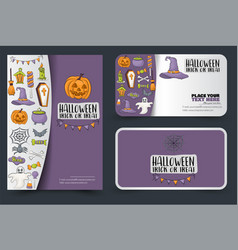 halloween poster and cards design for a party vector image
