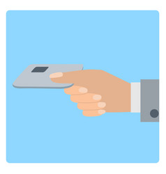 Hand holds credit card flat vector