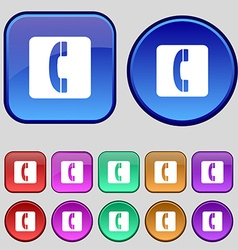 Handset icon sign A set of twelve vintage buttons vector
