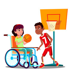 Happy disabled girl on wheelchair playing vector