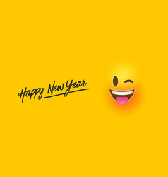 Happy new year funny emoticon face banner vector