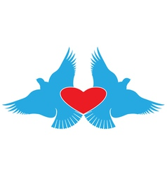 Heart and Birds valentines day symbol vector