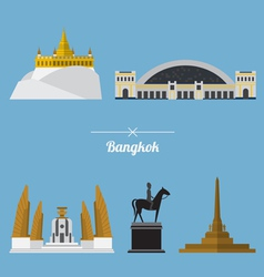 Icon set of Bangkok city landmark in flat design vector