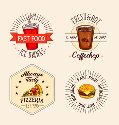 icons of fast food drinks and snacks vector image