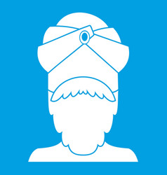 indian man icon white vector image