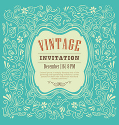 invitation card design vintage template vector image