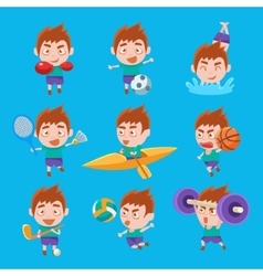 Kid Sportsman Doing Different Sport Types Set Of vector