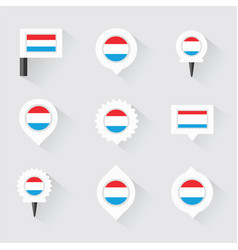 luxembourg flag and pins for infographic and map vector image