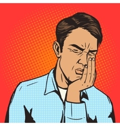 Man suffering toothache pop art retro vector image