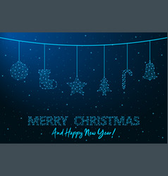 merry christmas and happy new year low poly vector image
