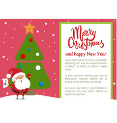 Merry christmas happy new year poster santa tree vector