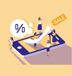Mini people with smartphone and shopping online vector