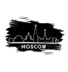 moscow skyline silhouette hand drawn sketch vector image