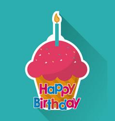 Muffin happy birthday design vector