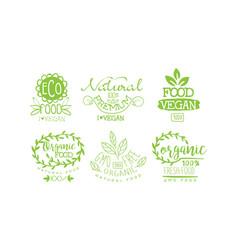 natural fresh food premium green labels set gmo vector image
