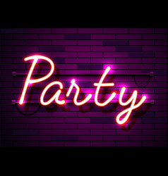 neon sign word party on dark background vector image