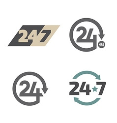 Open around the clock 24 hours 7 days a week icons vector