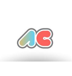 Orange pastel blue alphabet letter ac a c logo vector