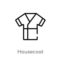 outline housecoat icon isolated black simple line vector image