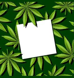paper note on marijuana leaves cannabis leaves vector image