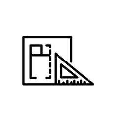 Planning triangle ruler architecture icon line vector