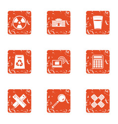 polymer icons set grunge style vector image