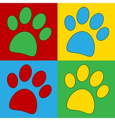 Pop art paw icons vector image vector image