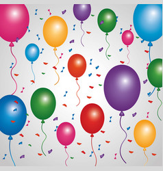 poster multicolored balloons flying confetti vector image